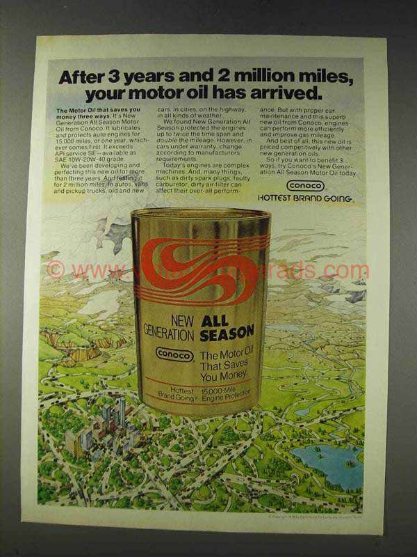1978 Conoco Motor Oil Ad Your Oil Has Arrived
