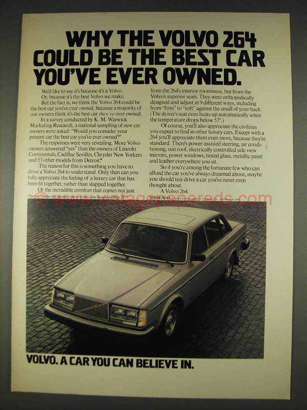 1978 volvo 264 car ad best you 39 ve ever owned. Black Bedroom Furniture Sets. Home Design Ideas