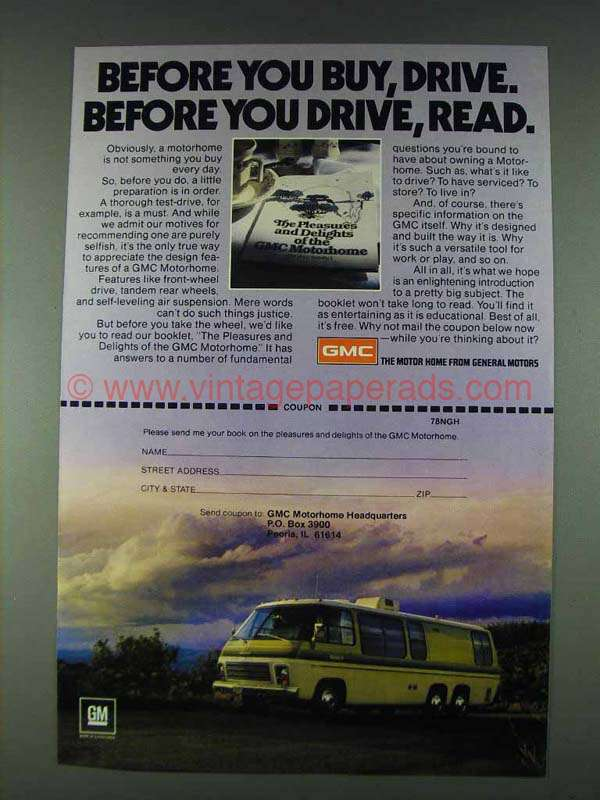 1978 GMC Motorhome Ad - Before you Buy, Drive