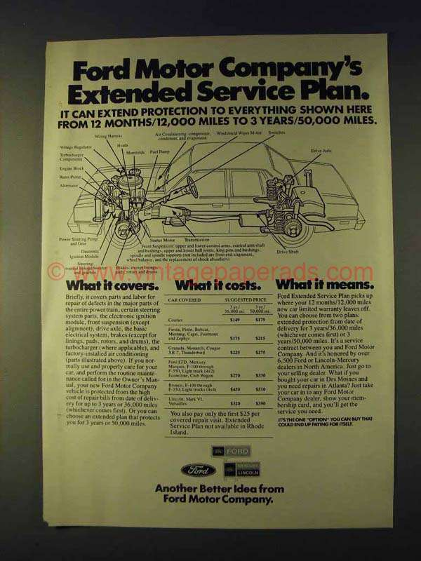 1979 Ford Motor Company Ad Extended Service