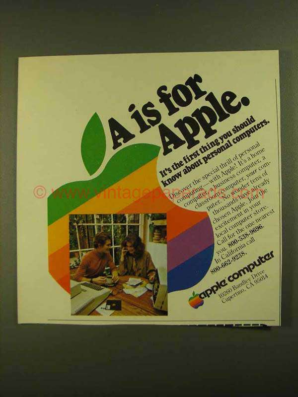 1979 Apple Computers Ad - A is For Apple