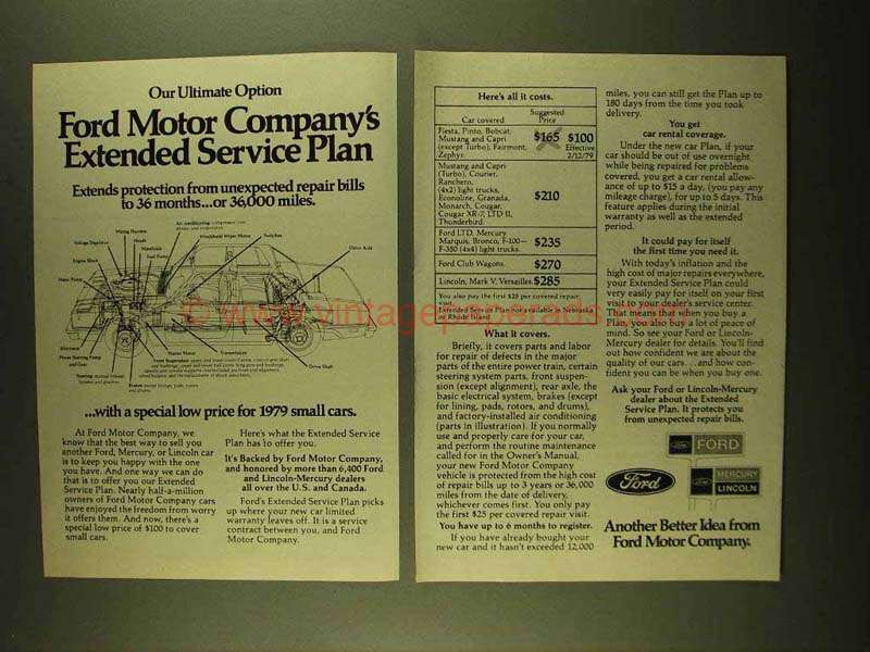 1979 Ford Motor Company Ad Extended Service Plan