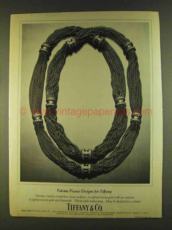 1980 Tiffany & Co. Paloma Picasso Necklace Ad
