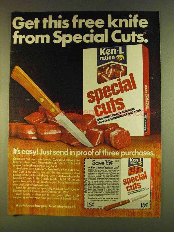 1980 Ken L Ration Special Cuts Dog Food Ad