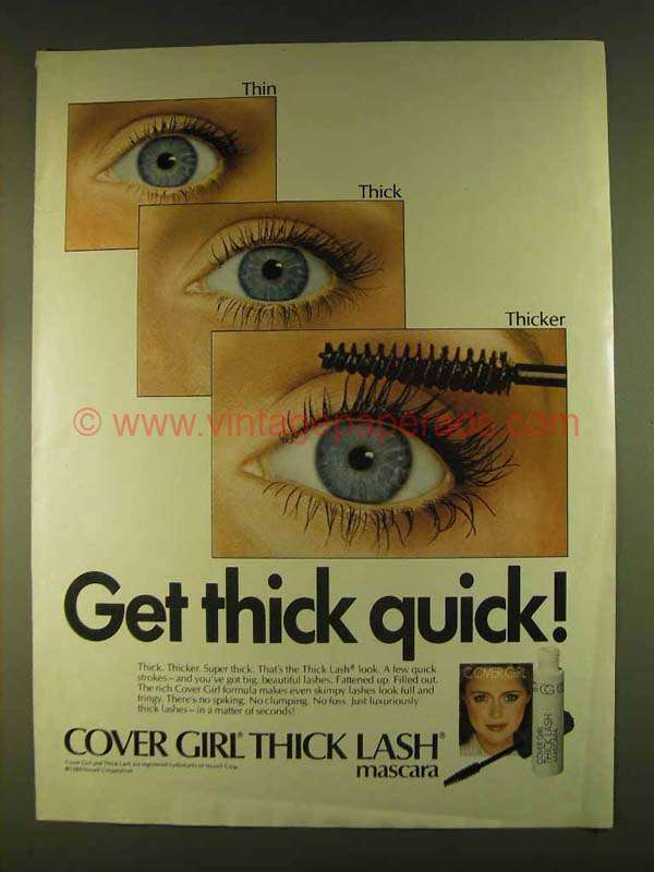 Quick Ads For Beauty Product Blusher Oneminutebriefs: 1980 Cover Girl Thick Lash Mascara Ad