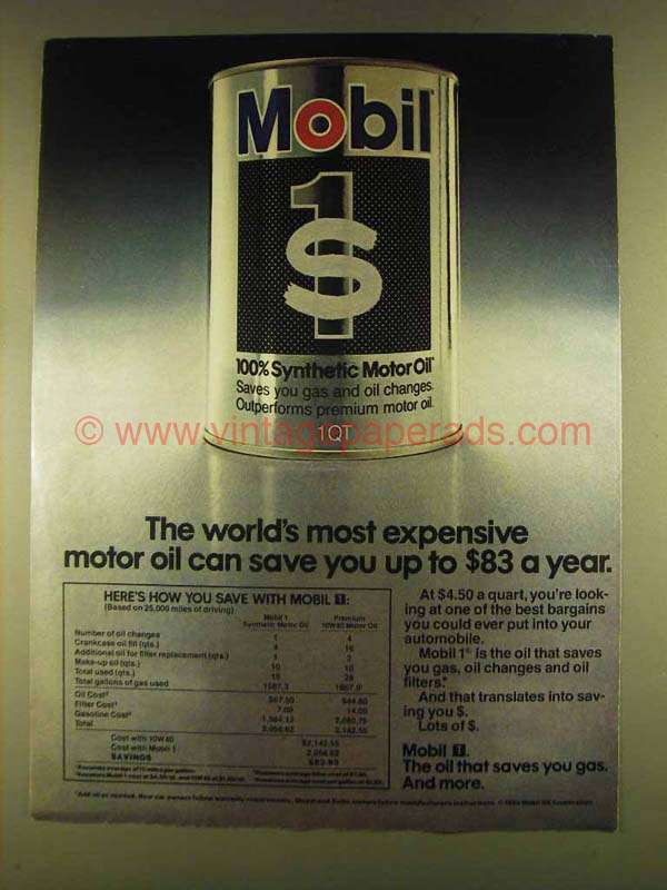 1980 Mobil 1 Motor Oil Ad World 39 S Most Expensive