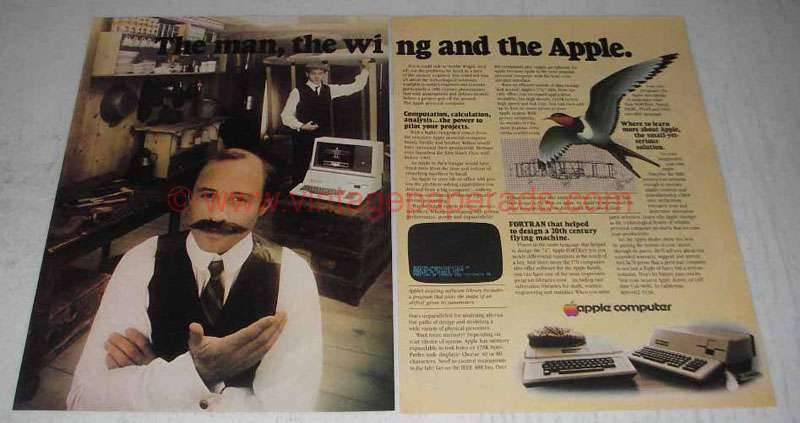 1980 Apple II and III computers Ad - The Man, The Wing