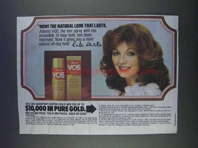 1980 Alberto Vo5 Hair Spray Ad Rula Lenska