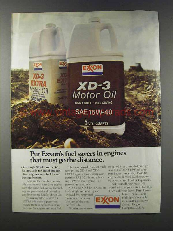 1981 Exxon Xd 3 Motor Oil Ad Engines Must Go Distance