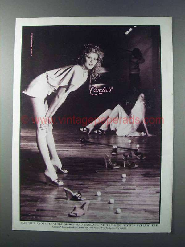 1981 Candie S Shoes Ad Leather Slides Amp Sandals