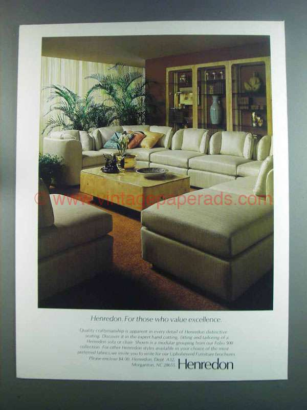 1982 Henredon Folio 500 Sofa And Chair Ad