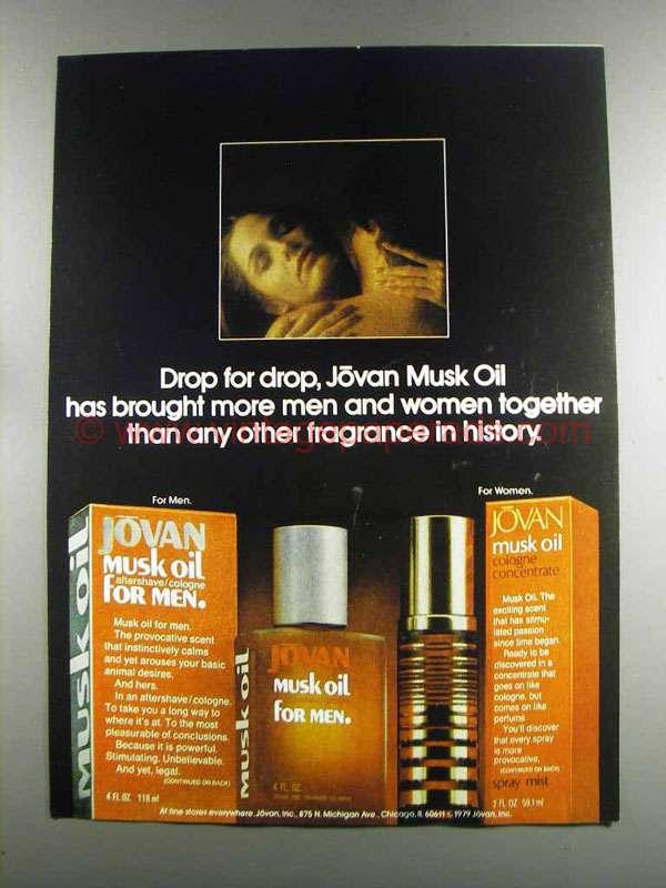 1982 jovan musk oil ad drop for drop. Black Bedroom Furniture Sets. Home Design Ideas