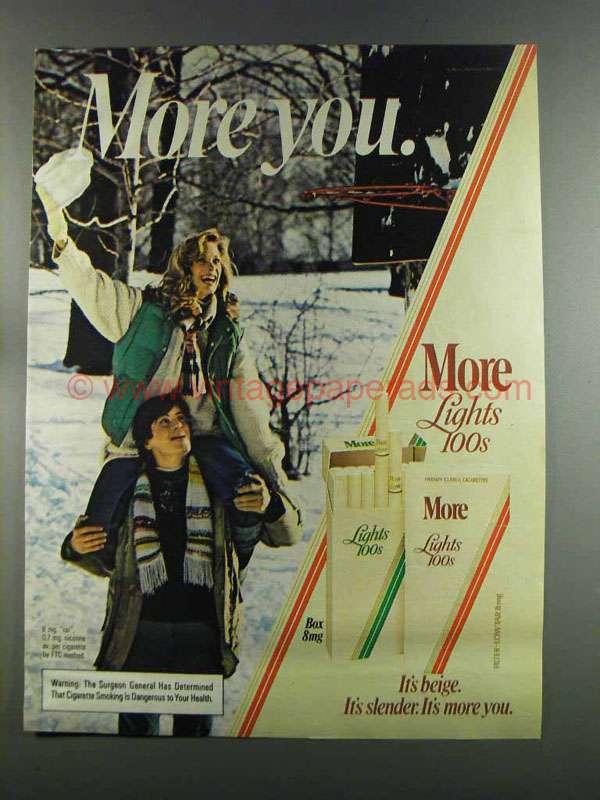 1982 more lights 100s cigarettes ad