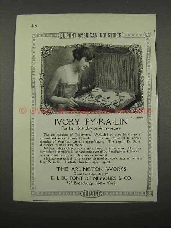 1918 Du Pont Ivory Py-ra-Lin Ad - For her Birthday