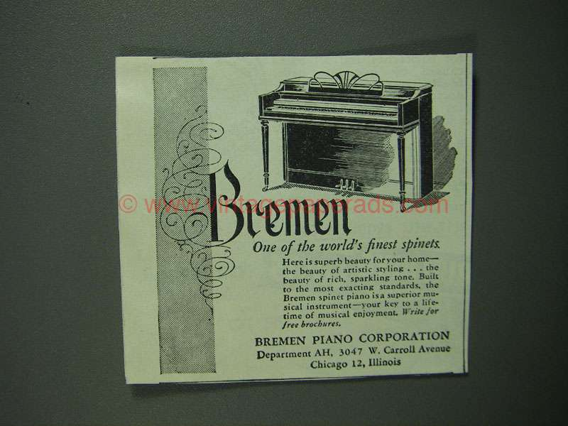 1950 Bremen Spinet Piano Ad - World's Finest