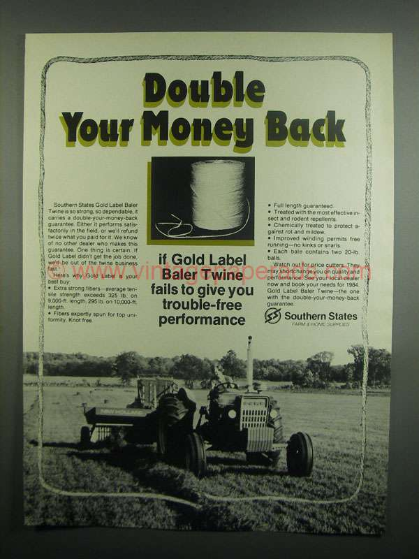 1984 Southern States Gold Label Baler Twine Ad