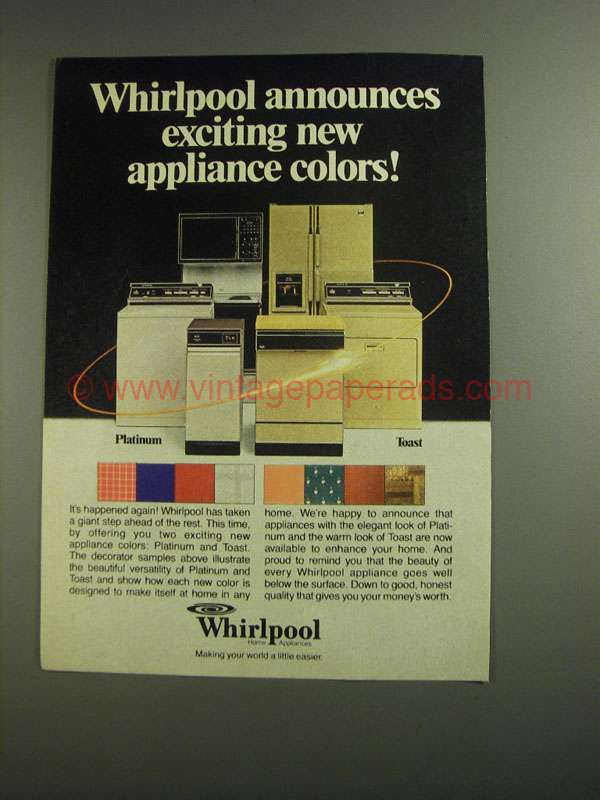 1984 Whirlpool Appliances Ad New Appliance Colors
