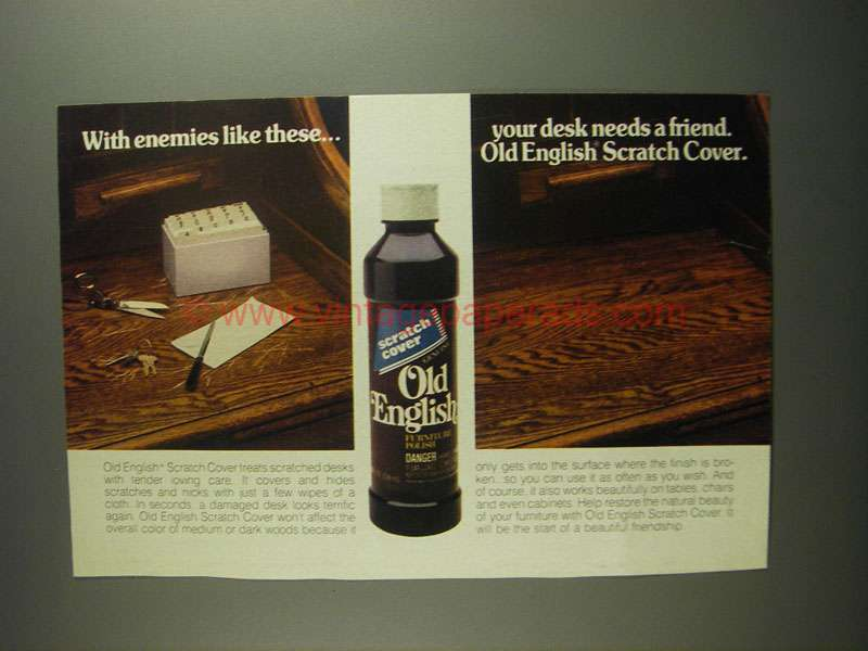 1984 Old English Scratch Cover Furniture Polish Ad With Enemies