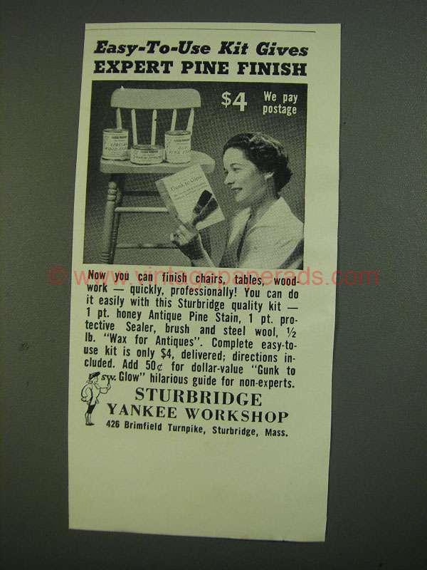 1956 sturbridge yankee workshop pine stain ad for Sturbridge yankee workshop