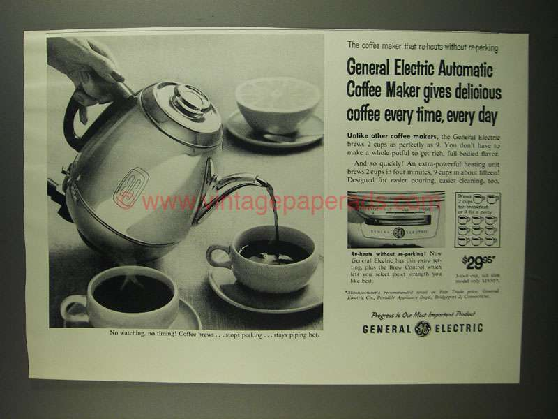 Automatic Electric Coffee Maker : 1958 General Electric Automatic Coffee Maker Ad