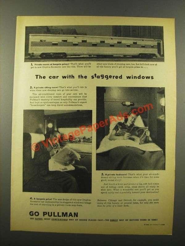 1946 Pullman Duplex Roomette Cars Ad Windows p 119889