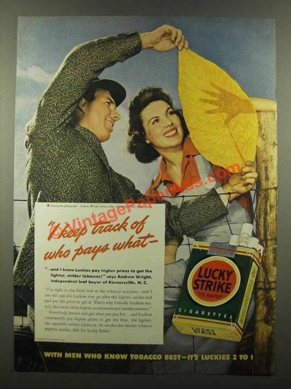 1941 Lucky Strike Cigarettes Ad - Track Who Pays What