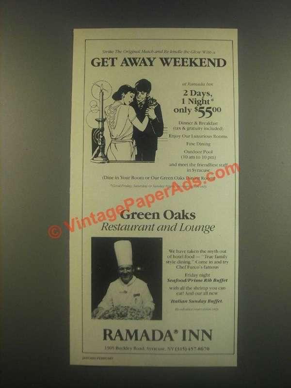 1985 ramada inn ad get away weekend for Get away for the weekend