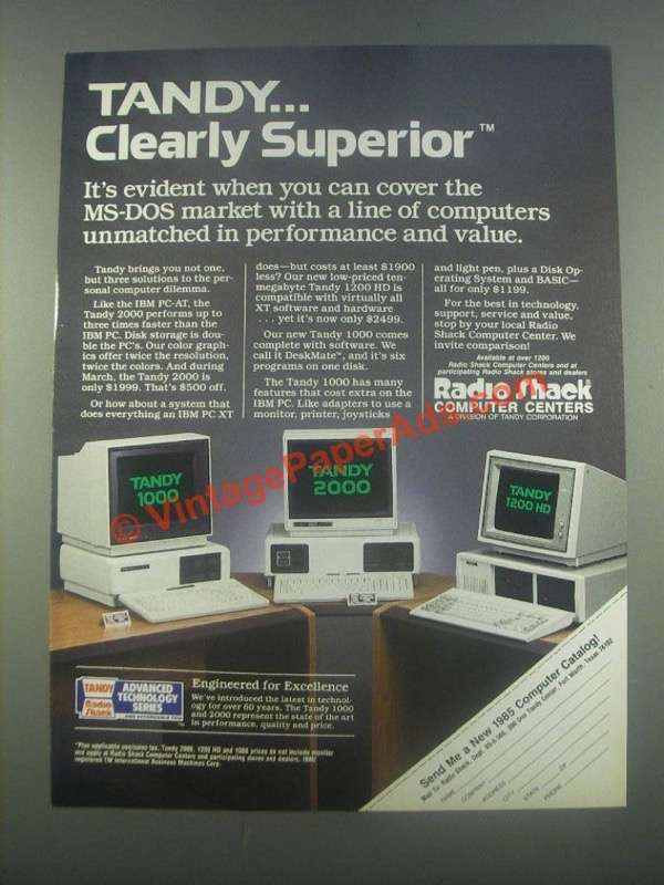 1985 Tandy 1000, 2000 and 1200 HD Computers Ad