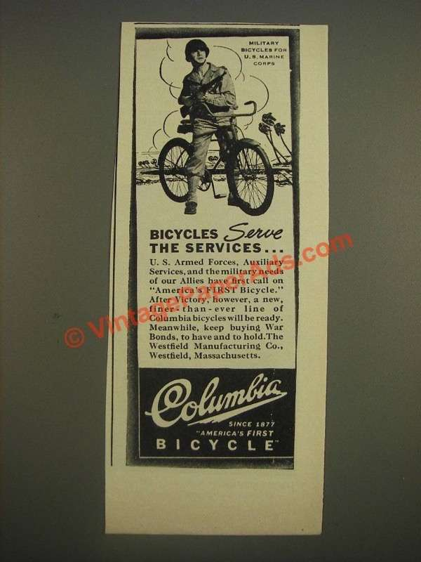 1944 Columbia Military Bicycles Ad - for U.S. Marine Corps serve the services