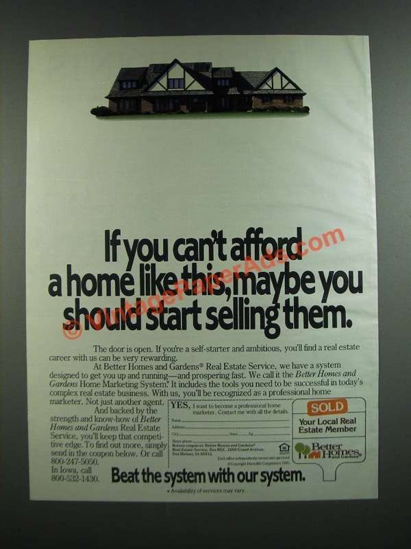 1986 Better Homes And Gardens Real Estate Service Ad Can