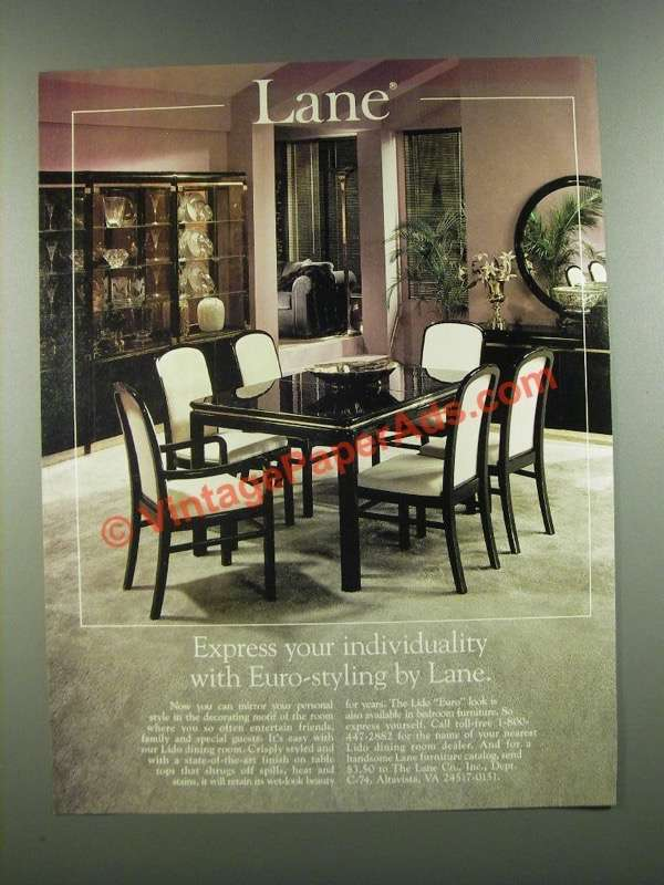 1986 lane lido dining room furniture ad euro styling