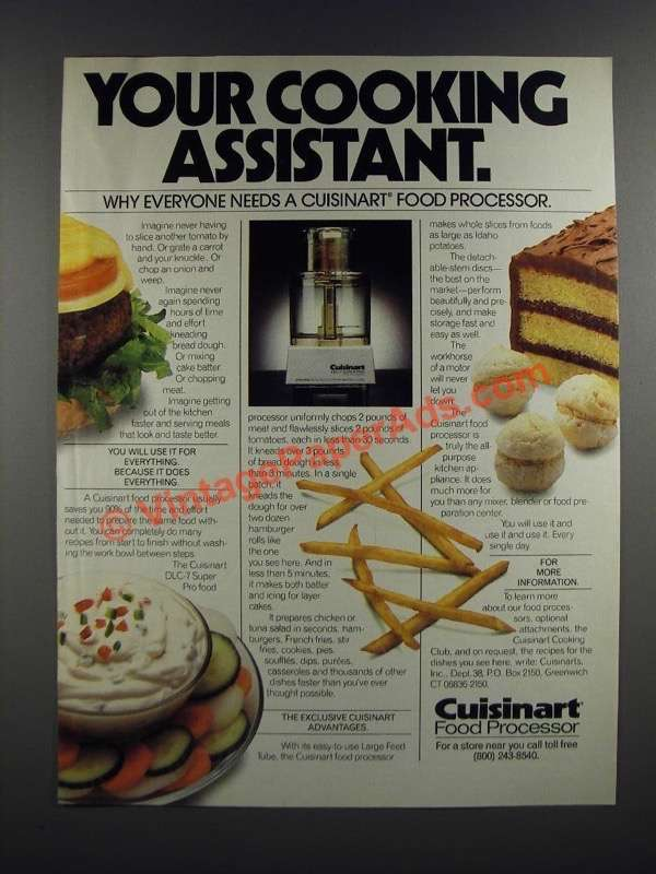 1986 cuisinart food processor ad your cooking assistant for Assistant cuisine