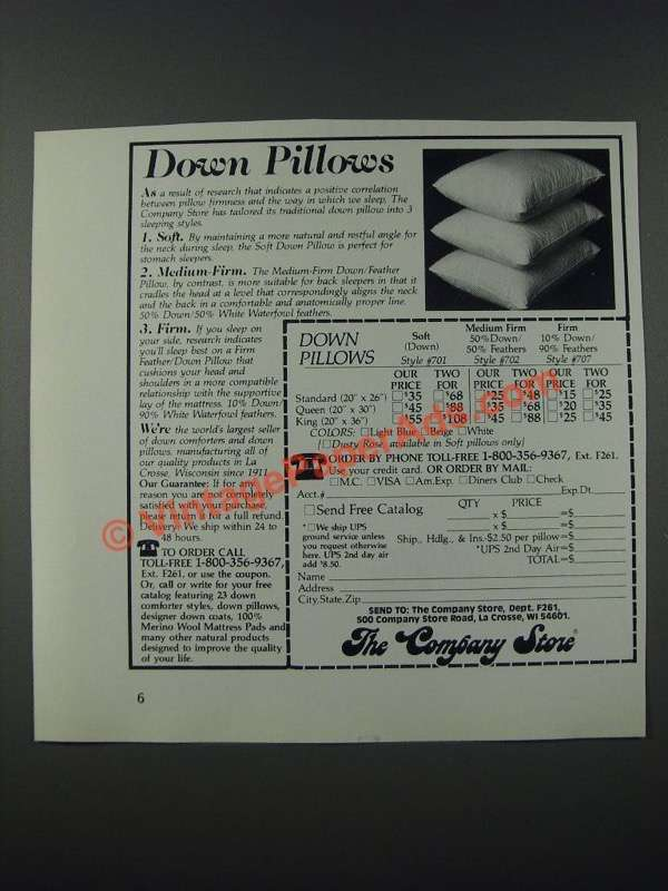 1986 the company store down pillows ad down pillows for Company store down pillows
