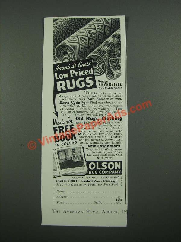 1938 Olson Rug Company Ad America S Finest Low Priced Rugs