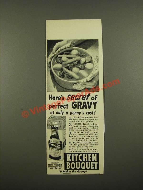 1942 Kitchen Bouquet Ad - Here's Secret of Perfect Gravy