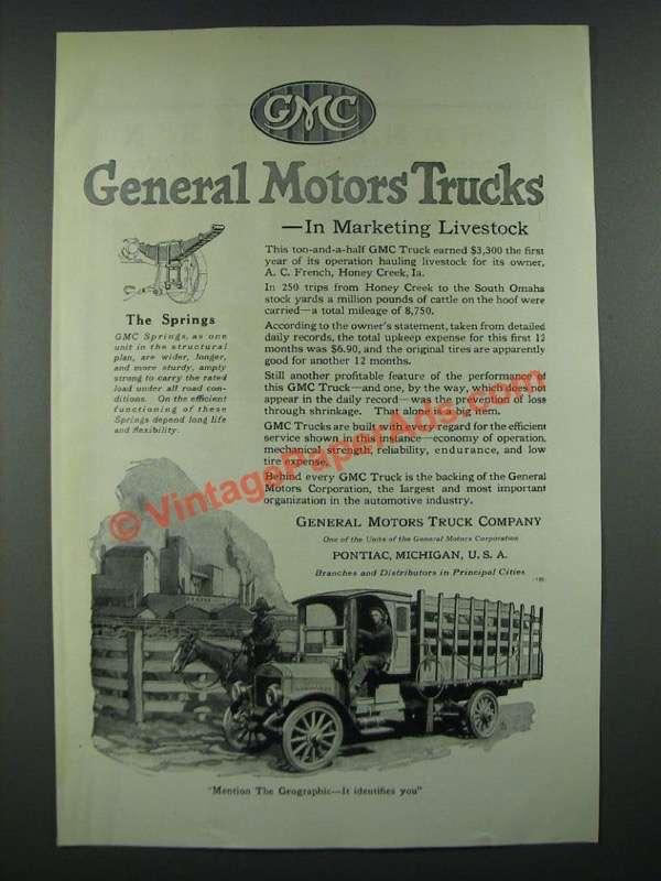 1919 Gmc General Motors Trucks Ad Marketing Livestock