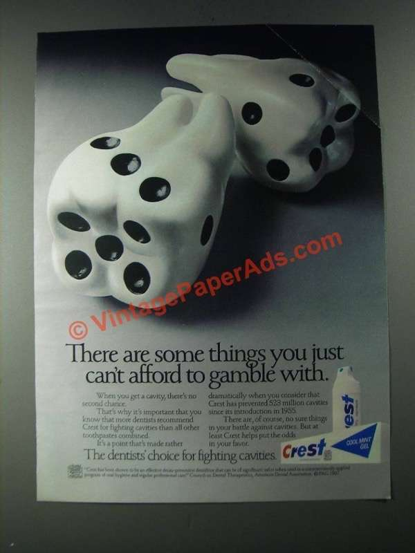 1987 Crest Toothpaste Ad Can T Afford To Gamble With