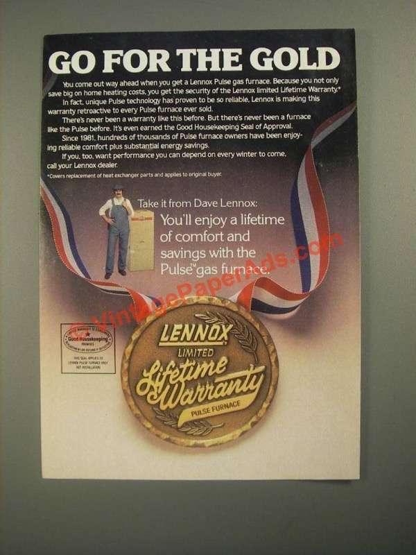 1987 Lennox Pulse Furnace Ad Go For The Gold