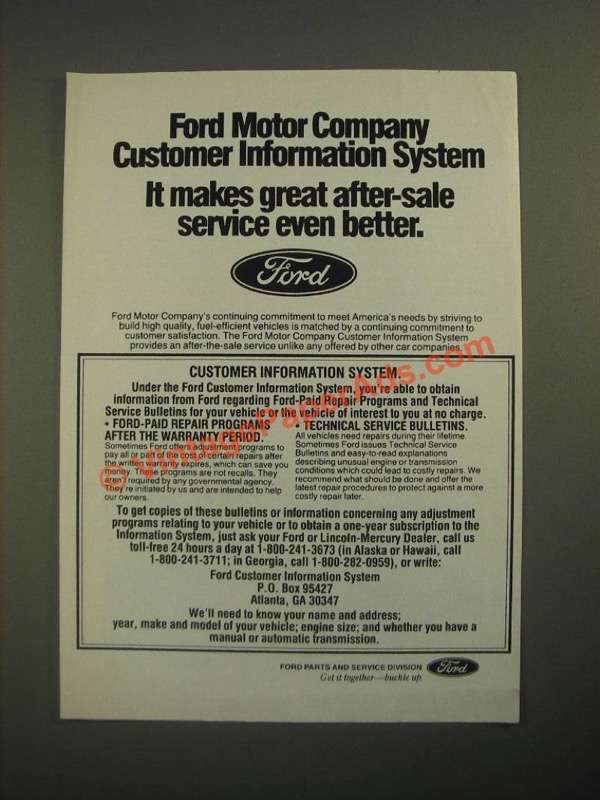 1987 Ford Motor Company Ad Customer Information System