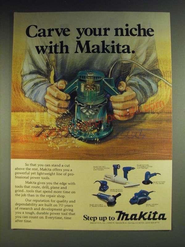 1984 Makita Power Tools Ad - DK1001 Cordless Drill, 6010DL Cordless Drill