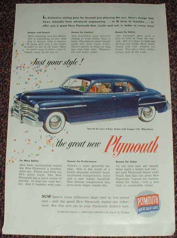 1949 plymouth special deluxe 4 door sedan ad for 1949 plymouth special deluxe 4 door