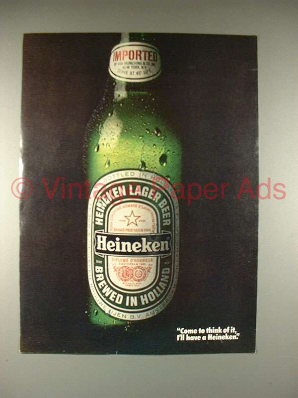 a review of heineken advertisements Product features can be used to tap kegs from brands like heineken, beck's, amstel.