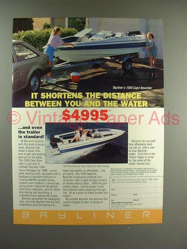 1988 Bayliner 1500 Capri Bowrider Boat Ad!