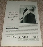 1929 United States Lines Ad, Salute New Era!!