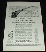 1929 Canadian National RR Ad Spans Continent!