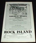 1929 Rock Island RR Golden State Ad, Luxury!!