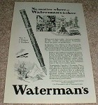 1929 Waterman No.7 Fountain Pen Ad, Nice!!