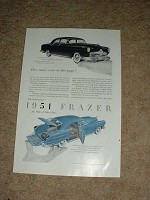 1951 Frazer 4-door Sedan & Vagabond Ad NICE!!