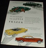1951 Frazer Car Ad, 5 Body Styles, NICE!