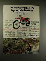 1971 Honda Motorsport 175 Motorcycle Ad - Goes Quietly!